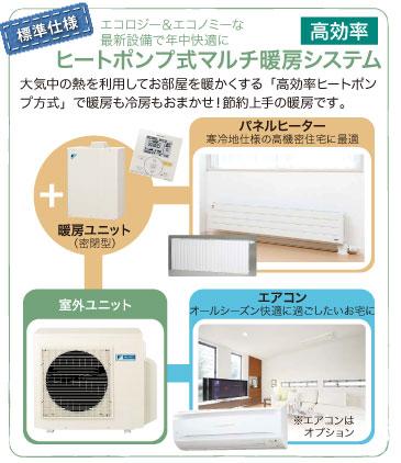 エコロジー&エコノミーな最新設備で年中快適に【ヒートポンプ式マルチ暖房システム】大気中の熱を利用してお部屋を暖かくする「高効率ヒートポンプ方式」で暖房も冷房もおまかせ!節約上手の暖房です。
