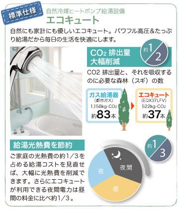 自然冷媒ヒートポンプ給湯設備【エコキュート】自然にも家計にも優しいエコキュート。パワフル高圧&たっぷり給湯だから毎日の生活を快適にします。
